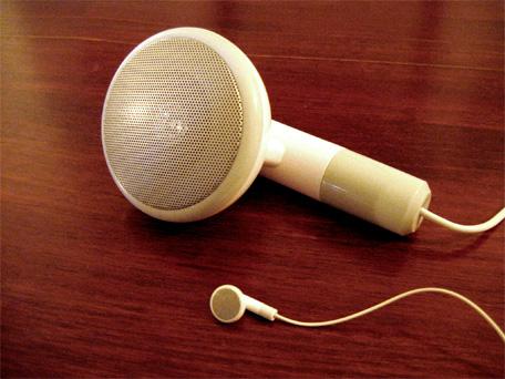 Size comparison: Original earbud compared to 500XL speaker