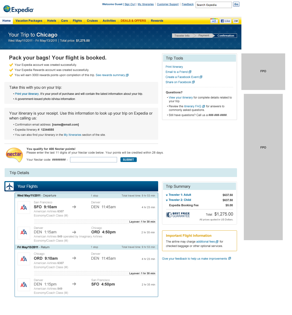 Expedia Travel Itinerary Number